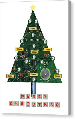 Christmas Tree Motherboard Canvas Print by Mary Helmreich