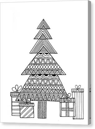 Tree Lines Canvas Print - Christmas Tree by Neeti Goswami