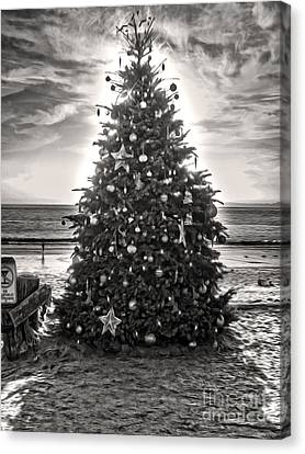Canvas Print featuring the painting Christmas Tree On The Beach by Gregory Dyer