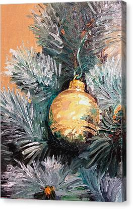 Christmas Tree Ornament Gold Canvas Print by Arch