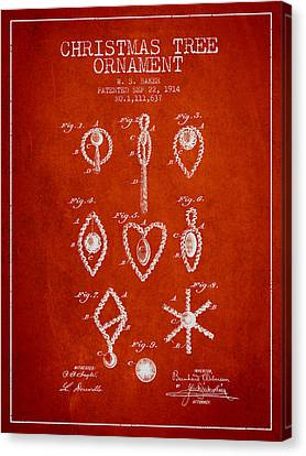 Christmas Tree Ornament Patent From 1914 - Red Canvas Print