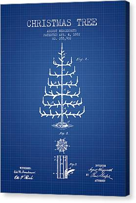 Christmas Tree Patent From 1882 - Blueprint Canvas Print by Aged Pixel