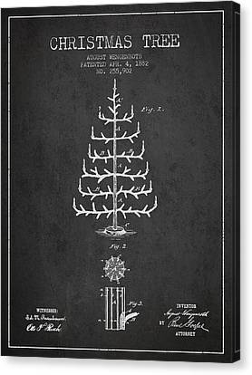 Christmas Tree Patent From 1882 - Charcoal Canvas Print by Aged Pixel