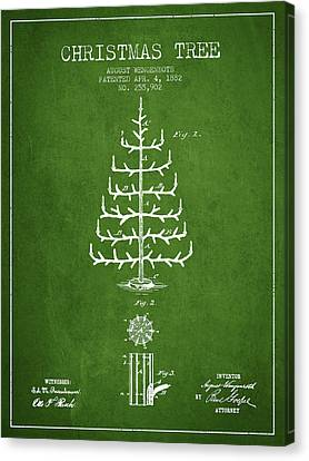 Christmas Tree Patent From 1882 - Green Canvas Print by Aged Pixel