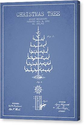 Christmas Tree Patent From 1882 - Light Blue Canvas Print by Aged Pixel