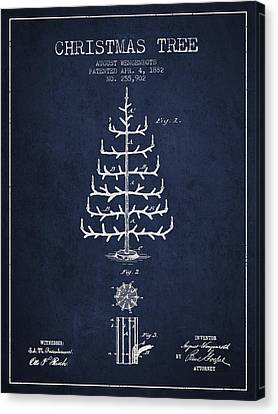 Christmas Tree Patent From 1882 - Navy Blue Canvas Print