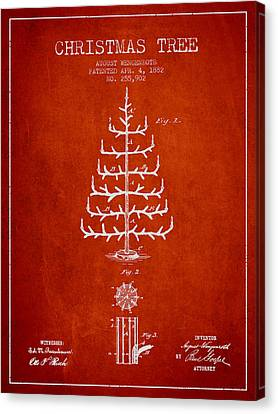 Christmas Tree Patent From 1882 - Red Canvas Print by Aged Pixel