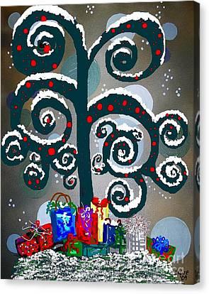 Christmas Tree Swirls And Curls Canvas Print by Eloise Schneider