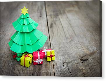 Christmas Tree With Presents Canvas Print by Aged Pixel