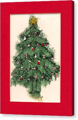 Three Kings Canvas Print - Christmas Tree With Red Mat by Mary Helmreich