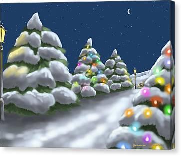 Christmas Trees Canvas Print by Veronica Minozzi