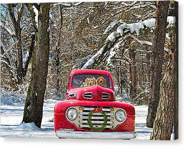 Snowy Golden Retriever Canvas Print - Christmas Truck by Maria Dryfhout