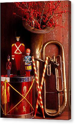 Drummer Canvas Print - Christmas Tuba by Garry Gay