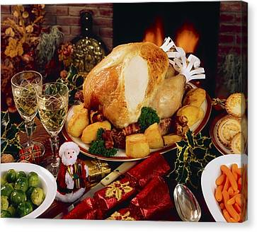 Christmas Turkey Dinner With Wine Canvas Print