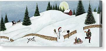 Christmas Valley Snowman Canvas Print