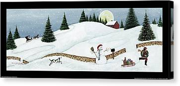 Christmas Valley Snowman With Black Border Canvas Print