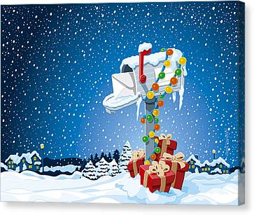 Christmas Winter Landscape Mailbox Gift Boxes Canvas Print by Frank Ramspott