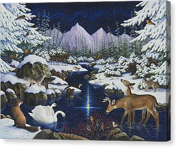 Bobcats Canvas Print - Christmas Wonder by Lynn Bywaters