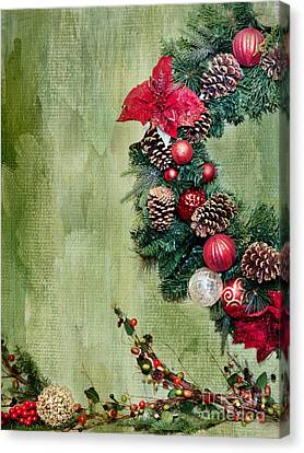 Christmas Wreath Canvas Print by Rebecca Cozart
