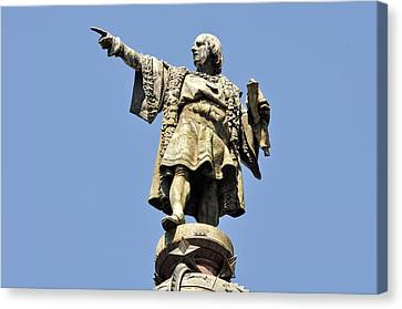 Christopher Columbus Day Statue Canvas Print