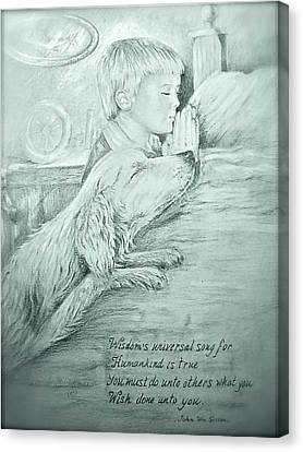 Canvas Print featuring the painting Christopher Robert And Shala by Patricia Schneider Mitchell