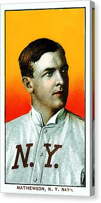 Christy Mathewson New York Giants Baseball Card 0100 Canvas Print by Wingsdomain Art and Photography