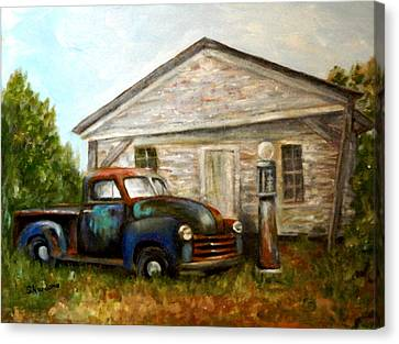 Canvas Print featuring the painting Chromatic Chevy by Sandra Nardone
