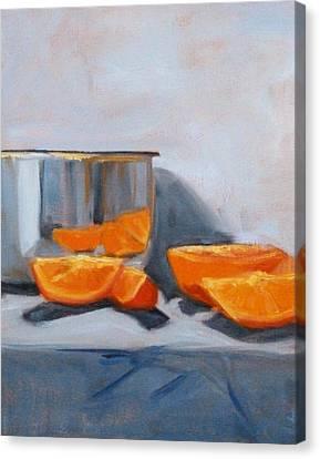 Chrome And Oranges Canvas Print by Nancy Merkle