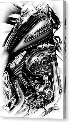 Chromed Harley Monochrome Canvas Print by Tim Gainey