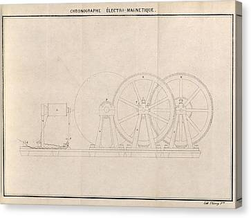 Chronograph, 19th Century Artwork Canvas Print by Science Photo Library