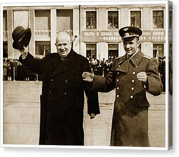 Communist Russia Canvas Print - Chrushtchev And Gagagrin by Detlev Van Ravenswaay