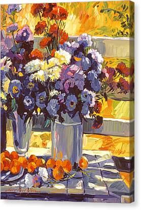 Chrysanthemums And Apricots 1986 Canvas Print by David Lloyd Glover