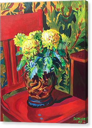 Canvas Print featuring the painting Chrysanthemums On Red Chair by Clyde Semler
