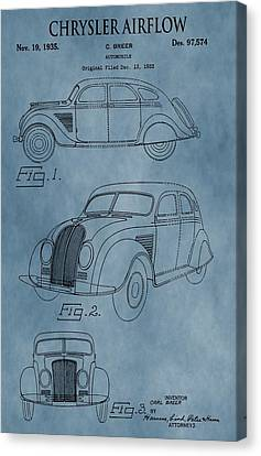 Chrysler Airflow Patent Blue Canvas Print by Dan Sproul