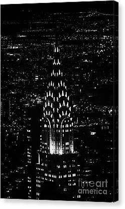 Chrysler Art Deco Building Illuminated At Night New York City Canvas Print by Joe Fox