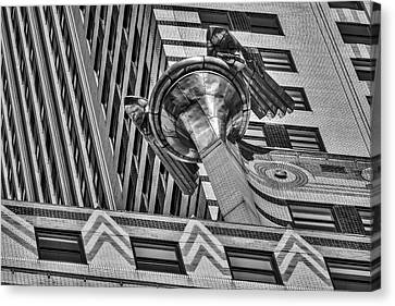 Chrysler Building Canvas Print - Chrysler Building Gargoyle Bw by Susan Candelario