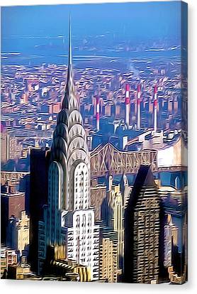 Chrysler Building In Midtown Manhattan  Canvas Print by Lanjee Chee