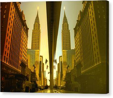 Chrysler Reflection On 42nd Street Canvas Print