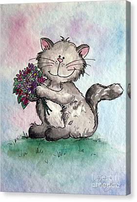 Chubby Kitty With Flowers Canvas Print by Dani Abbott