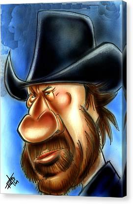 Caricature Cowboy Canvas Print - Chuck Norris by Big Mike Roate