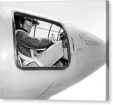 Chuck Yeager And Bell X-1 Canvas Print by Underwood Archives