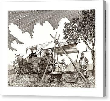 Chuckwagon Cattle Drive Breakfast Canvas Print by Jack Pumphrey