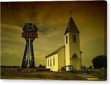 Church And Casino Those Two Angels  Canvas Print by Jeff Swan
