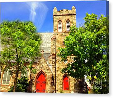 Canvas Print featuring the photograph Church And Red Doors by Becky Lupe