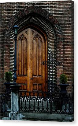 Church Arch And Wooden Door Architecture Canvas Print by Lesa Fine