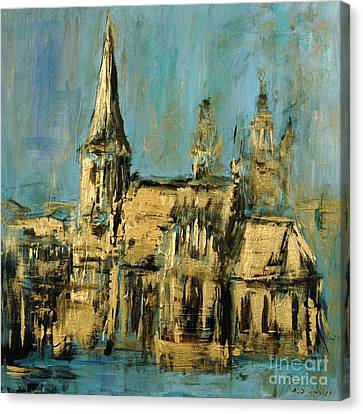 Canvas Print featuring the painting Church by Arturas Slapsys