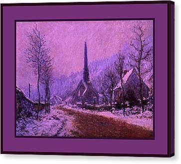 Church At Jeufosse Snowy Weather Enhanced Triple Border Canvas Print by Claude Monet - L Brown
