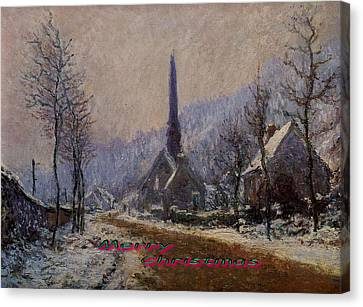 Church At Jeufosse Snowy Weather Restored Merry Christmas Canvas Print by Claude Monet - L Brown