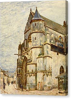 Church At Moret After The Rain Canvas Print by Alfred Sisley