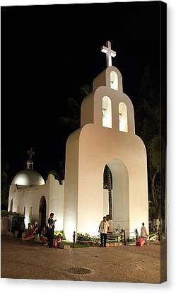 Church At Night In Playa Del Carmen Canvas Print